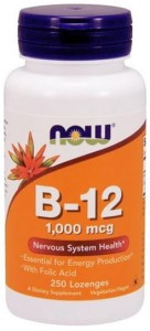 B-12 with Folic Acid 1000 mcg do ssania (250pastylek) NOW Foods