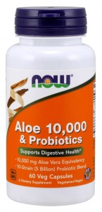 Aloe 10,000 & Probiotics Aloes Probiotyki (60 kasp) NOW Foods