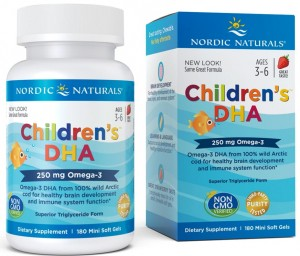 Tran Children's DHA 250mg truskawka do żucia (180 kaps) Nordic Naturals