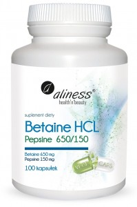 Betaine HCL, Pepsyna 650/150 mg x 100 kaps. Aliness