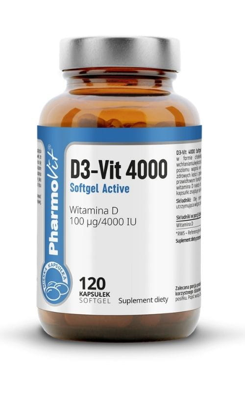 Witamina D3-VIT 4000 SOFTGEL ACTIVE 120 KAPS, CLEAN LABEL PHARMOVIT